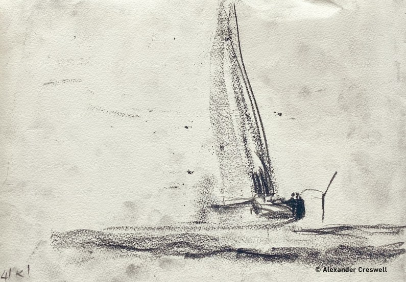 Ineos AC75 RB1 On Water Sketch at 41 knots_