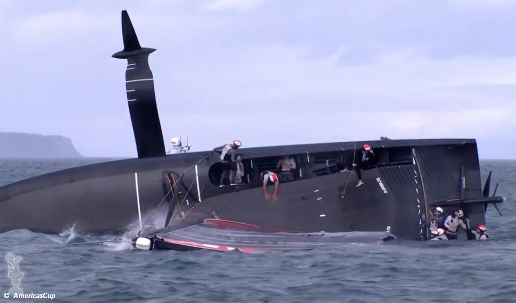 American Magic capsize while leading