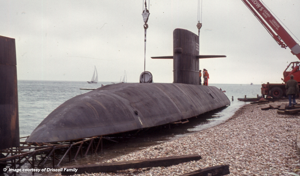 Bond movie Submarine at Hayling Island SC 1977